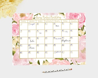 baby shower game, guess due date game, due date game, pink baby shower pink and gold baby shower games baby girl shower, girl baby shower