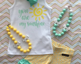 Made to match Matilda Jane you are my sunshine Chunky necklace shirt yellow mint m2m bow adventure begins rays of sunshine shorties