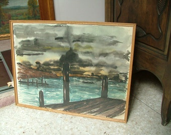 1954 WATERFRONT DOCK PIER Midcentury Painting Signed Bonnie Brown