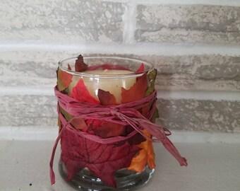 Fall Faux Leaf Decor Candle Holder