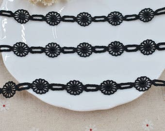 """20 meter 1.4cm 0.55"""" wide black fabric embroidered dress tapes lace trim ribbon G14W518U0906V free ship"""