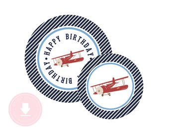 INSTANT DOWNLOAD Biplane Party Circles (Plane Birthday Decor, Printable Party Circles, Printable Plane Decorations, Preppy Plane)
