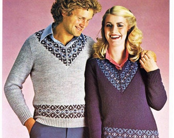 Adult's Lady's Man's V Neck Sweater Pullover Jumper Size 81 - 107 cm 32 - 42 inch Lister Lee  Double Knitting 1319 Vintage Knitting Pattern