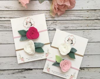 Baby Headband, Baby Flower Headband, Felt Flower Headband, Baby Shower Gift, Newborn Headband, Pink Headband