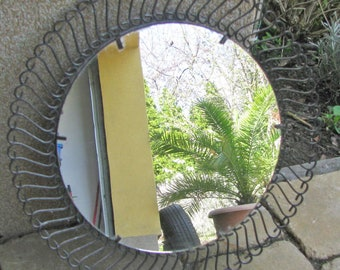 Vintage, mid-century wrought iron mirror in original state from the 1960s String Era