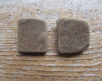 RUSTIC Stone Cabinet Knobs NATURALLY SQUARE Brown Stone Cabinet Knobs