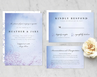 Printable Wedding Invitation Suite (Invitation, RSVP, Information Card) — Watercolor, Floral, Classic {Other Color Options Available}