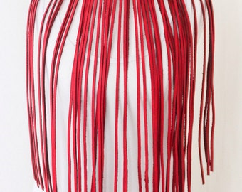 Bright Red Leather Fringe Necklace | Statement Necklace | Red Leather Jewellery | Red Leather Choker | bdsm wear