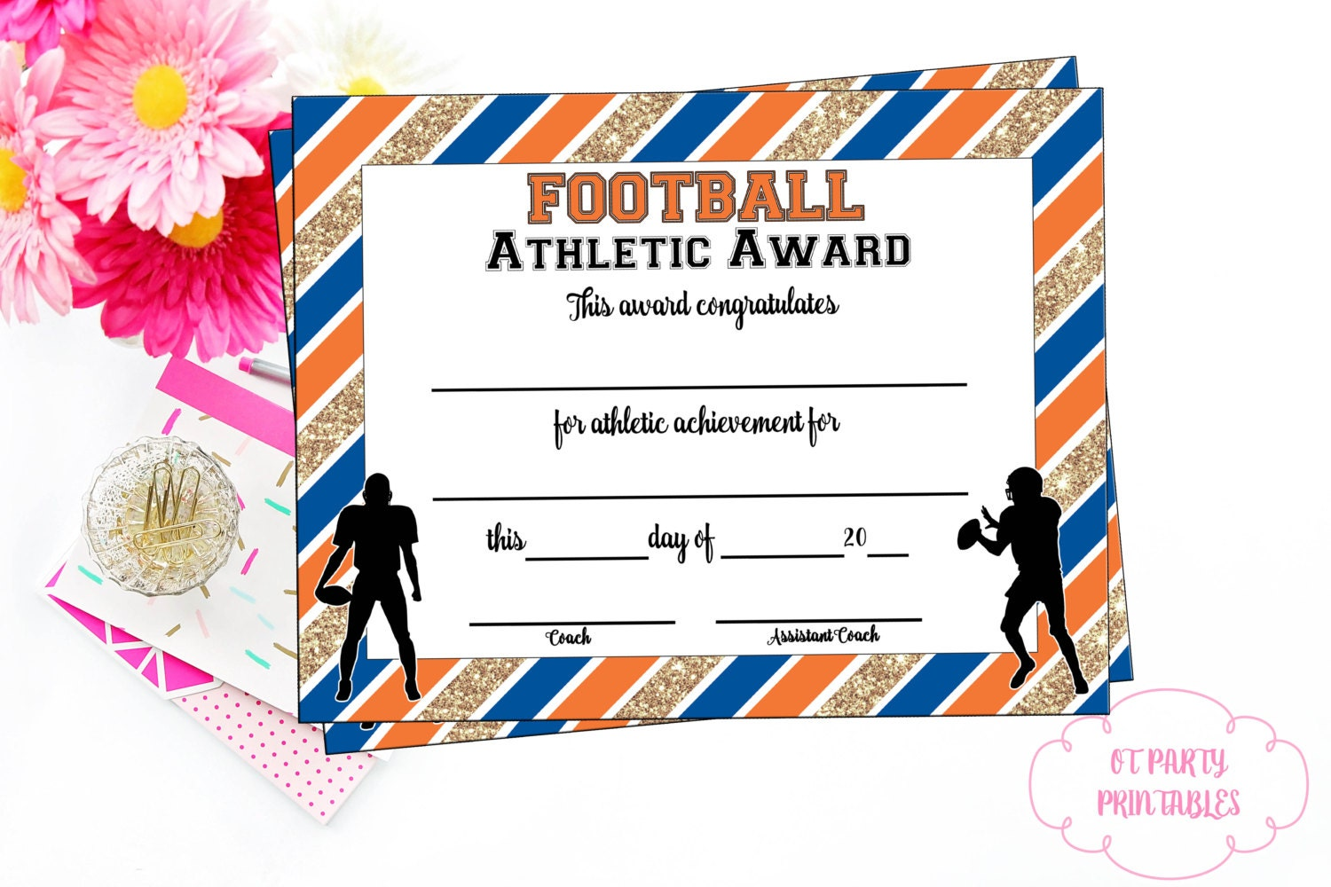 Instant download football certificate football award zoom xflitez Images