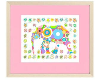 elephant nursery art baby girl nursery decor circus nursery decor elephant art baby nursery art nursery wall art, baby GIRL gift, CIRCUS ART