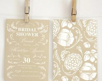 Elegant Wildflower Bridal Shower Invitation, Wedding Invitation, Envelope Liner