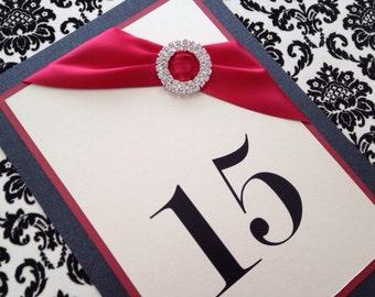Elegant Double Circle Rhinestone Table Numbers, Wedding, elegant, handmade, crimson red, ivory, black