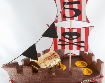 Pirate Ship Cake Topper, personalized cake topper, pirate center piece
