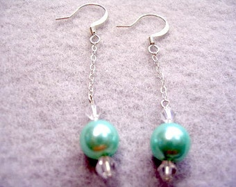 Mint Green Pearl Dangle Earrings, Sterling Silver Chain Drop Earrings with Faceted Clear Crystal Accent Beads, Wedding Party Jewelry