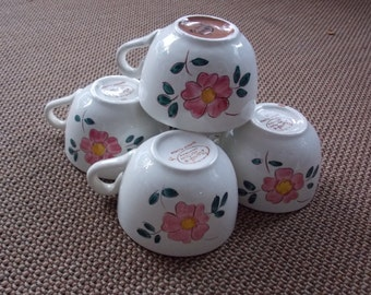 VINTAGE LISTING: Lot of 5 Yellow Stangl Spring Hand Painted Pink Flower Cups Teacups Dishware Dining