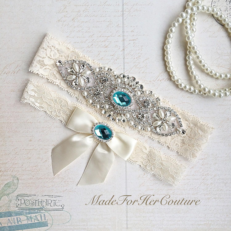 Vintage Lace Wedding Garter Set: Blue Wedding Garter Bridal Garter Set Stretch Lace Garter