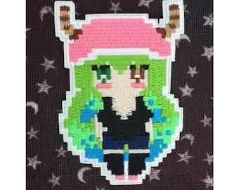 Miss Kobayashi Dragon Maid Lucoa Kobayashi Pixel Art Anime Iron On Embroidered Patch For Jackets