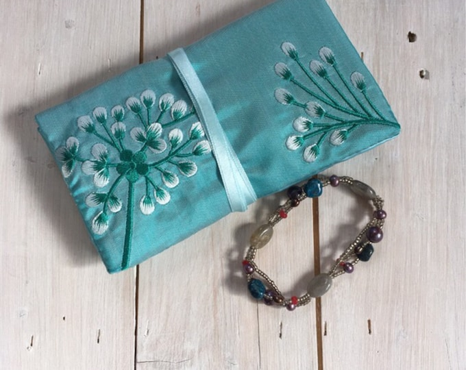 Handmade Silk Jewellery Roll with Embroidery, Fairtrade - turquoise blue with turquoise and silver embroidery