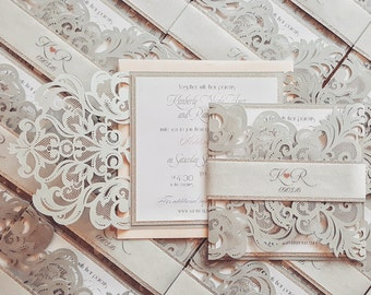 Winter wedding invitations laser cut wedding invites silver blush custom with bellyband {Broadway design Sku: BroSer05}