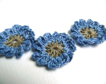 Mini blue crochet motifs, 12 Petal embellishments, Crochet flowers applique, set of 6 crochet applique, linen flower, Scrapbooking, ornament
