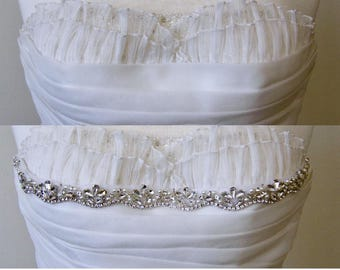 10 in to 36 in beaded rhinestone applique, trim, bridal sash, wedding sash, bridal headband, wedding headband,  bridal belt, rhinestone belt