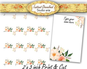 Printable Earring Cards, Editable Cards, jewelry Display, Earring holder, DIY, necklace cards, Floral Design, Instant Download