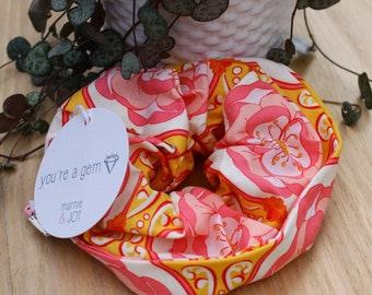 Bright Pink and Orange Patterned Scrunchy