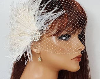 Wedding Fascinator, Bridal Veil, Ivory Fascinator, Wedding Hair Clip, Bridal Headpiece, Wedding Headpiece, Birdcage Bridal Veil, Wedding Set