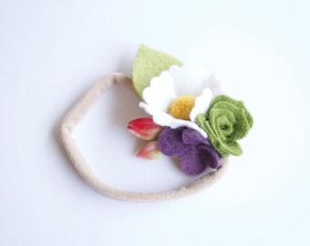 Summer Daisy, Rose + Succulent Felt Floral Headband / Alligator Clip / Nylon Headband / Purple, White, Green, Pink // Flower Crown // Summer
