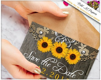 Wood Sunflower Save the Date,Sunflower Save the Date, Rustic Save the Date, Photo Save the Dates, Printable Save the Date Sunflower Postcard