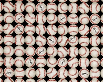 "Baseball Fabric, All Star Fabric: Grand Slam Baseballs on Black by Quilting Treasures 100% cotton fabric by the yard 36""x43"" (QT539)"
