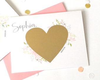 Trauzeugin Vorschlag Scratch Off Karte - personalisiert werden Sie werden meine MOH - Brautjungfer Hochzeit Vorschlag - abkratzen - Rosa erröten Braut