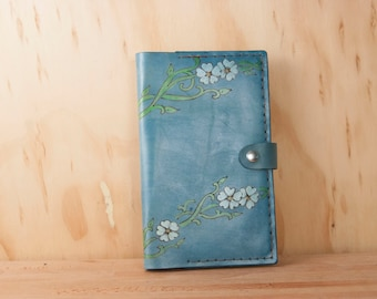 Journal - Handmade Leather Moleskine Journal Cover in the Willow Pattern - Blue Leather with Flowers
