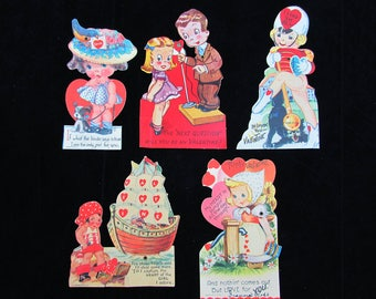 1940s Mechanical Valentine Cards Lot of 5 - Pirate, majorette, cute kids