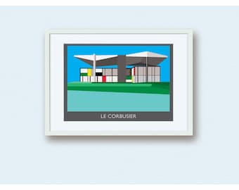 Architecture Illustration of Le Corbusier Museum in Zurich