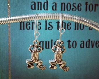 Frog Charm Hoop Earrings