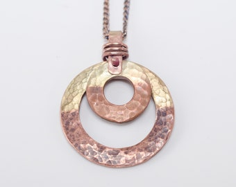 Hammered Two-tone Copper Washer Necklace