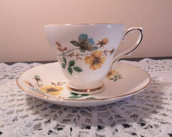 Vintage Teacup & Saucer Royal Kendall Fine Bone China England Yellow and Blue Flowers Gold Accents Replacement Mix and Match Dinnerware