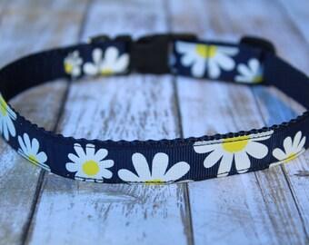 Daisy Dog Collar - Floral Dog Collar - Navy Daisy Dog Collar - Personalized Dog Collar - Daisy Dog Harness - Daisy Dog Leash