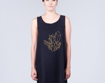 LAST ONE. Mineral Embroidery Black Dress. Reversible Gold Embroidery. Gold Holiday Fashion. Gold Cluster Fashion. Art Illustration Clothing