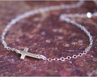 SIdeways Cross Necklace -ALL STERLING SILVER- Off-Centered Celebrity Inspired Jewelry 'As Seen On' by RevelleRoseJewelry
