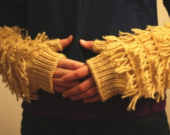 Down Arm Warmers knitting pattern fringe