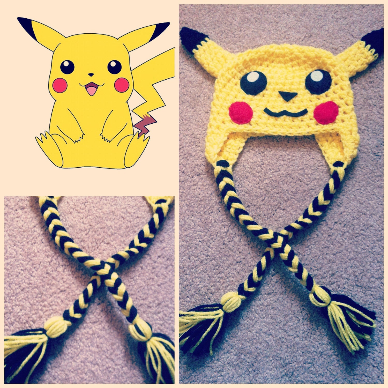 Funky Pikachu Crochet Hat Pattern Adornment - Sewing Pattern for ...