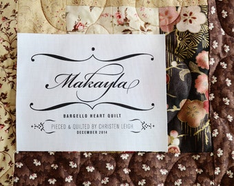 Name Personalized Quilt Label • Elegant Customized Quilt Patch • Blanket Label • Iron On • Sew On