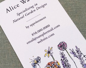 Business card with Wildflowers,personalized floral calling card - Set of 50