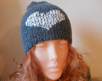 Hand Knit Slouchy Beanie Hat Acrylic Grey with Heart