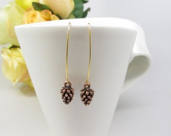 Bronze Pine Cone Earrings, Long Dangle Pine Cone earrings Long Dangle earrings Pine Cone jewelry Woodland jewelry