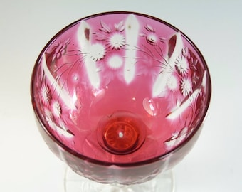 "Antique Edwardian CRANBERRY - Cut Wine Glass Webb Rock Crystal - 4 1/2"" - #ACG12"