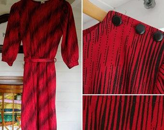 Vintage 1980s Red and Black Patterned Belted Dress