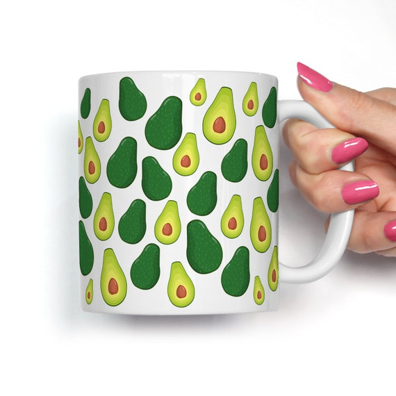 Avocado Coffee Mug Microwave and Dishwasher Safe Ceramic Cup Great Gift for Vegan or Vegetarian